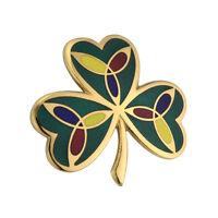 New Enamelled Irish Celtic Shamrock and Trinity Knot Brooch Pin Celtic Jewellery
