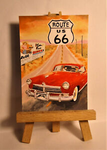 Route 66 Vintage Poster ACEO Original PAINTING by Ray Dicken