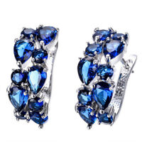 Women's Blue Sapphire Ear Hoop Stud White Gold Earrings Filled Wedding Jewelry