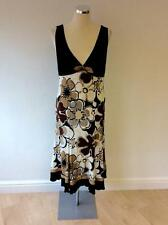 a62d0a97e8 FUEGO WOMAN noir, blanc & marron imprimé floral robe taille XL