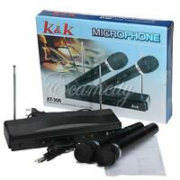 Microphone Dual Cordless Wireless Mic + Receiver for Karaoke DJ Sing Songs