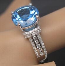 Solid 18K White Gold Natural Blue Swiss Topaz VS Diamond Engagement Wedding Ring