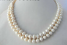Beautiful 2 Rows Natural 7-8mm Freshwater White Pearl Necklaces 17-18''