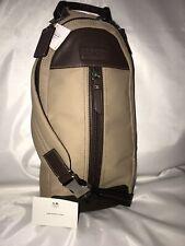New Coach Varick Sling Shoulder Backpack Khaki Nylon & Leather MSRP $198.00