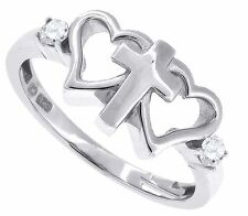 Sterling Silver Purity Heart Cross Midi knuckle Rings  Clear Cubic Zirconia