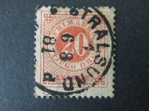 SWEDEN 20o stamp nice cancel STRALSUND 1881 Germany