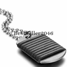 Leather Cord Wrap Charm Army Military Dog Tag Men's Pendant Necklace Bead Chain