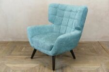CHENILLE WINGBACK ARMCHAIR WITH PRESSED BUTTON BACK