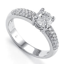 1.04 CT Round Solitaire Diamond Engagement Ring Pave 18k #R1007