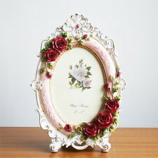 Retro Style Red Pink Rose Flower Home Decor Photo Frame Picture Resin 5'' X 7''