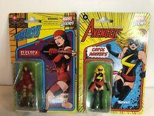 "Marvel Legends 2021 3.75"" Retro Lot of 2 Carol Danvers & Elektra"