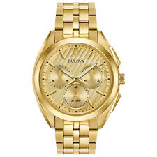 Bulova Curv Men's Quartz 262 kHz Chronograph Gold-Tone 45mm Watch 97A125