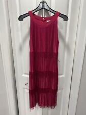 New York And Company Pink Fuschia Fringe Flowy Salsa Dress Size Small NWT