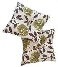 Set of 2 Leafy Cushions with Decorative Buttons, Brown & Green - Plump Filled
