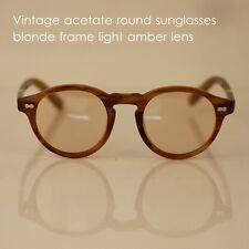 Vintage round sunglasses mens Johnny Depp Blonde frame light amber loop lenses