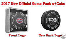 2017 Montreal Canadiens Official NHL Hockey Game Puck - New Back Logo w/Cube