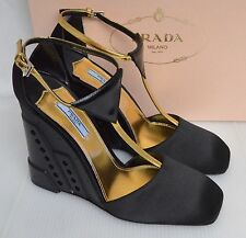 Prada Black & Gold T Bar Wedge Shoes size UK 6, EU 39 and US 8