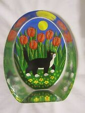 Iittala Finland i Cat & Tulips Glass Card Paperweight Martti Lehto Design NR