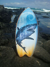 GREAT WHITE SHARK SURFBOARD Ocean Blue Surfer Beach Sign Surfing Home Decor NEW