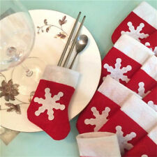12 Pieces/Set Mini Christmas Stockings Dinnerware Tree Decorations