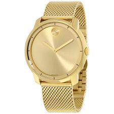 Movado Bold Gold Dial Gold Tone Mesh Mens Watch 3600373
