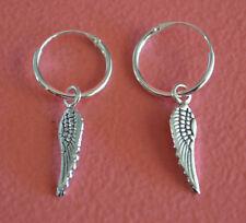 925 Sterling Silver Small Hoop w/ Dangle Angel Wing Earrings Jewelry