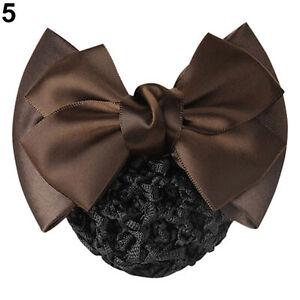 Lace Satin Bow Lady Cover Bowknot Barrette Hair Clip Women Bowknot Net Bun Snood