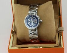 NEW AUTHENTIC TORY BURCH REVA SILVER BLUE WOMEN'S TRB4010 WATCH