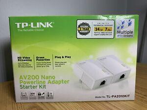 TP-LINK AV200 Nano Power line Adapter Starter Kit, New In Box