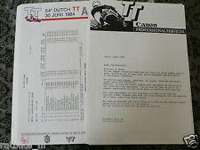 1984 TT ASSEN DUTCH PRESS INFO TRAINING, STARTING GRID, ENTRY LIST, RESULTS MOTO