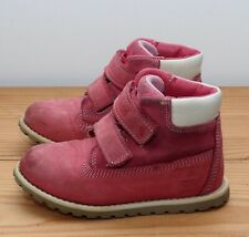 Timberland boots size 7.5 Infants pink nubuck leather hook loop straps 25
