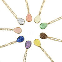 Druzy Quartz Drusy Teardrop Pendant Long Necklace for Women Custom Jewelry