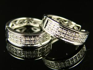 Nuovo Uomo/Donna Diamante Rotondo Cerchi Huggies 15Mm Orecchini