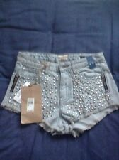 River Island Denim Studded Hot Pant Shorts Size 6