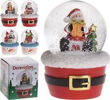 Christmas Snow Globe Christmas Snowglobe in Xmas Tub Santa Snowman Reindeer Gift