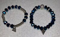 Blue & Silver GUESS Quality Bead Bracelet ~ Lot Of 2