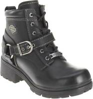 Harley-Davidson Women's Tegan 4-Inch Black Lace-Up Boots. D84424