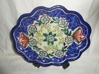 "Talavera Pottery Puebla Mexico Scalloped Oval Platter Wall Hanging 10 1/2"" w1s7"