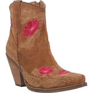 NEW Ladies Dingo by Dan Post Tootsie Tan Leather Pink Flower Western Boots DI357