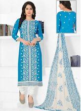 Radiant Blue Cotton Embroidered Salwar Suit Dress Material D.NO NKT1175