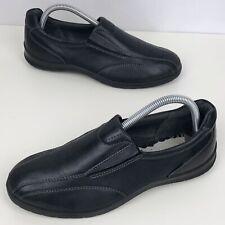 ECCO Black Leather Slip On Shoes Size UK 6 (eur39) Women's Worn