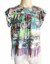 Ladies fringed multicolored AMSTERDAM BICYCLES pattern tunic/top UK size 12/14