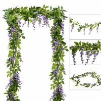4Pcs Artificial Flowers Silk Wisteria Garland Ivy Vine Hanging Home Decor