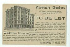 UX12 Postal Card, Advertising 1896 Boston MA Flag Windermere Chambers Building