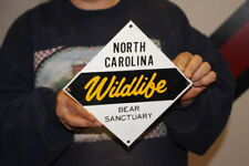 Vintage 1960's Wildlife Bear Sanctuary No Hunting Gas Oil Gun Metal Sign