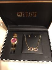 New Women's Watch Set Cote d' Azur Watch, Earrings, and Necklace, Pink/gold tone