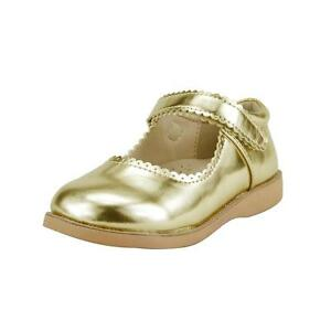 Girl's School Dress Classic Shoes Touch Close Mary Jane Gold, Pink Color Toddler