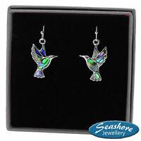 Hummingbird Earrings Paua Abalone Shell Silver Bird Fashion Jewellery 22mm Drop