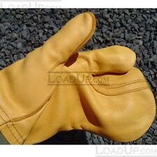 LARGE US Military Trigger Finger Leather Mitten Shell and Wool Insert M1965