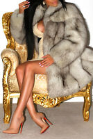AMAZING ARCTIC POLAR BLUE PLATINUM SAGA REAL FOX FUR COAT SHORT JACKET STUNNING!